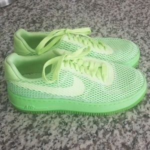 Bright green Nike sneakers